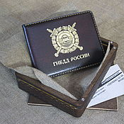 Канцелярские товары handmade. Livemaster - original item Cover of the traffic police service certificate with a window for the badge. Handmade.