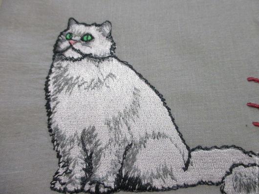 Носовые платочки ручной работы. Ярмарка Мастеров - ручная работа. Купить Носовой платок мужской с вышивкой_кот. Handmade. Комбинированный