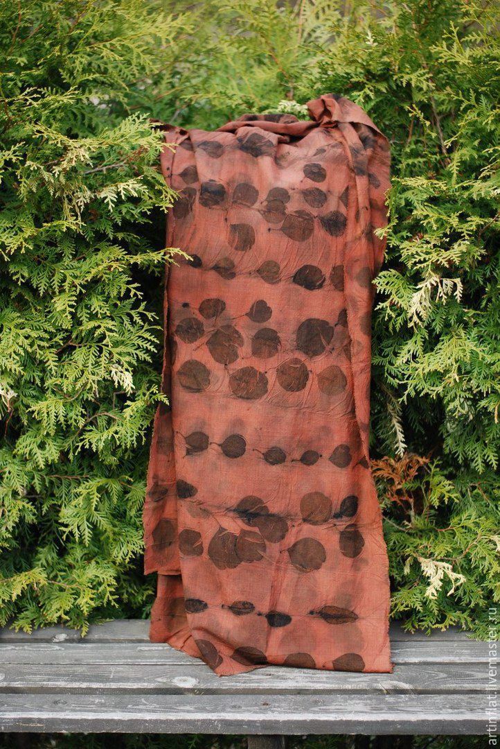Tippet-plaid 'Leaves' crisp wool with prints eco print boho, Wraps, Moscow,  Фото №1