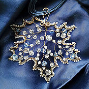 Украшения handmade. Livemaster - original item Large pendant Frosty Maple copper crystal winter leaf nature blue ice. Handmade.