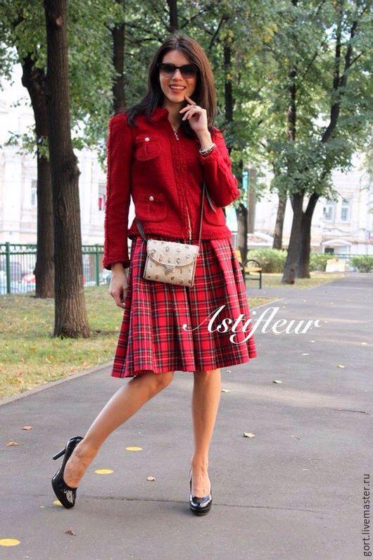 Теплая шерстяная юбочка миди длина полусолнце офисная шотландская клетка зимняя юбка теплая юбка по колено офисный стиль стиль зимы мода 2015  клетка юбка из шерсти классическая юбка по колено