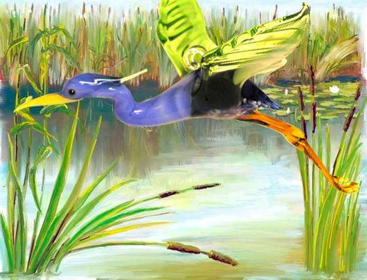Элементы интерьера ручной работы. Ярмарка Мастеров - ручная работа. Купить Интерьерное подвесное украшение из цветного стекла птица Цапля. Handmade.