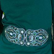 Аксессуары handmade. Livemaster - original item Beaded elastic belt `The witness of the copper mountain` green emerald. Handmade.