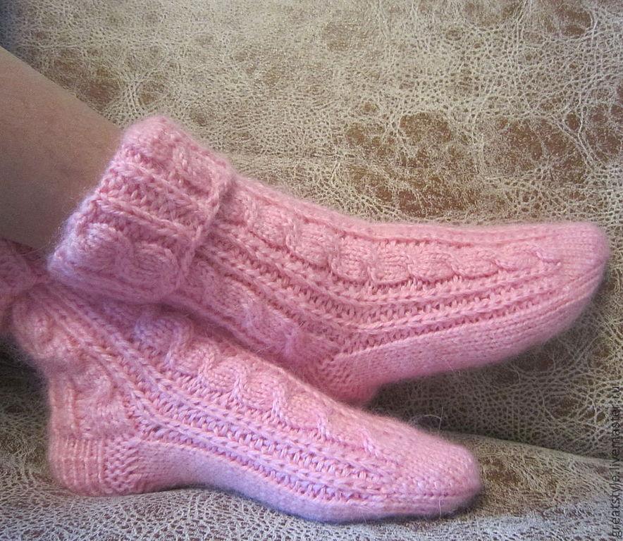 Носки связанные с косичками
