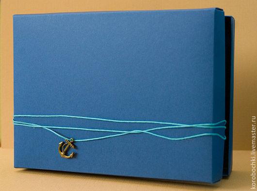 """Подарочная упаковка ручной работы. Ярмарка Мастеров - ручная работа. Купить Коробка """"Шёпот волн"""" 15х21х4 см. Handmade. Синий"""