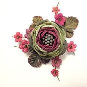 Украшения handmade. Livemaster - original item Cherry Valley Brooch with flowers made of fabric and genuine leather. Handmade.