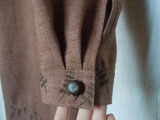"""Платья ручной работы. Ярмарка Мастеров - ручная работа. Купить Платье """"Корица"""" с ручной набойкой. Handmade. Коричневый"""