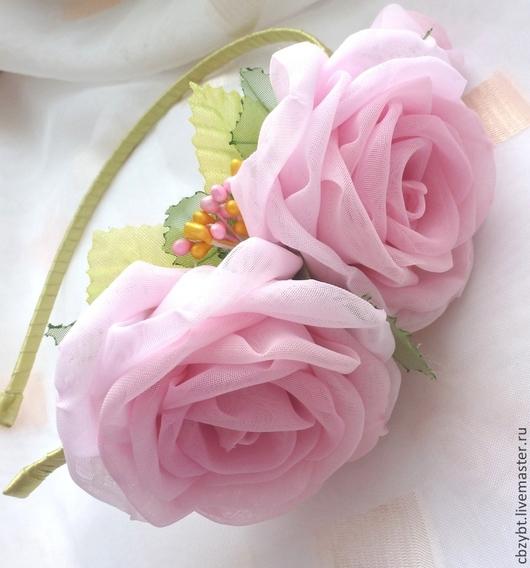 """Диадемы, обручи ручной работы. Ярмарка Мастеров - ручная работа. Купить Ободок  """" Нежные розы"""". Цветы из ткани.. Handmade."""