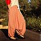 Брюки, шорты ручной работы. Ярмарка Мастеров - ручная работа. Купить Красные Полосатые Женские Афгани из 100% хлопка с карманами. Handmade.