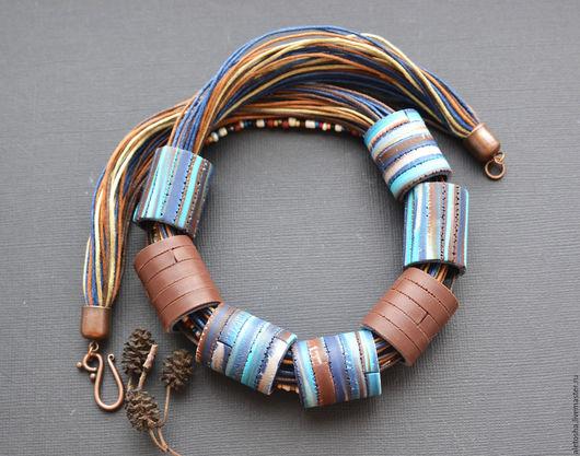 """Колье, бусы ручной работы. Ярмарка Мастеров - ручная работа. Купить Колье """"Синий сон"""". Handmade. Разноцветный, коричневый, брызги"""