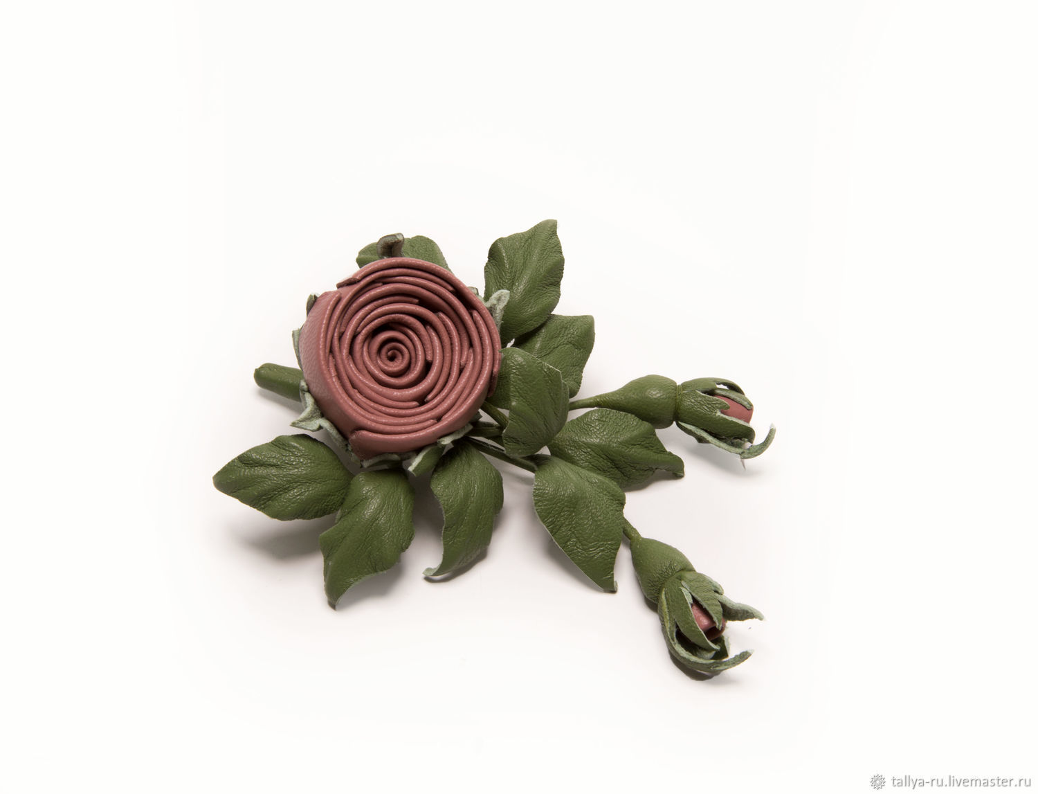 Brooch Boutonniere Sprig of rose color dusty pink with green, Brooches, Tver,  Фото №1