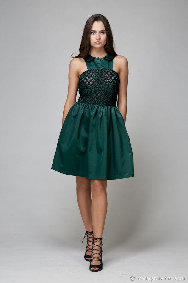 adfe55a54b1ddc9 Платья ручной работы. Ярмарка Мастеров - ручная работа. Купить ПЯТНИЦА Коктейльное  платье глубокого зеленого ...