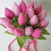 Цветы и флористика ручной работы. Ярмарка Мастеров - ручная работа Текстильные тюльпаны розовые. Handmade.