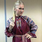 Народные платья ручной работы. Ярмарка Мастеров - ручная работа Рубаха бардовая. Handmade.