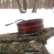 Украшения handmade. Livemaster - original item Leather bracelet engraved with Nobody`s perfect, but me. Handmade.