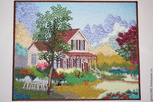 """Пейзаж ручной работы. Ярмарка Мастеров - ручная работа. Купить Картина. """"Домик в деревне."""". Handmade. Машинная вышивка"""