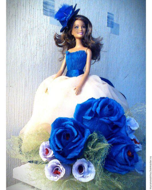 Букеты ручной работы. Ярмарка Мастеров - ручная работа. Купить Кукла из конфет. Handmade. Тёмно-синий, кукла в подарок