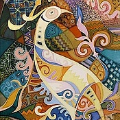 """Картины и панно ручной работы. Ярмарка Мастеров - ручная работа Батик """"Птица"""". Handmade."""