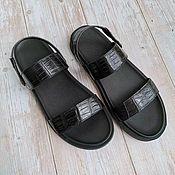 Обувь ручной работы handmade. Livemaster - original item Slippers made of genuine crocodile leather, in black!. Handmade.