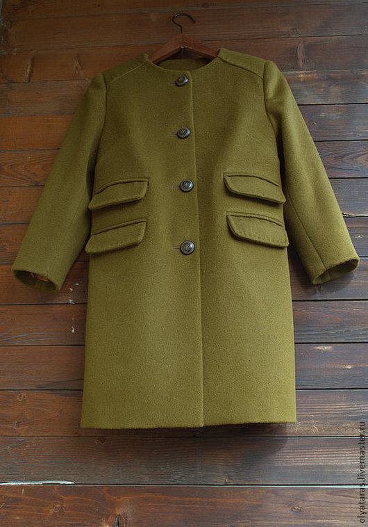 """Верхняя одежда ручной работы. Ярмарка Мастеров - ручная работа. Купить Пальто """"Весна"""".. Handmade. Оливковый, весенняя мода, шерсть"""