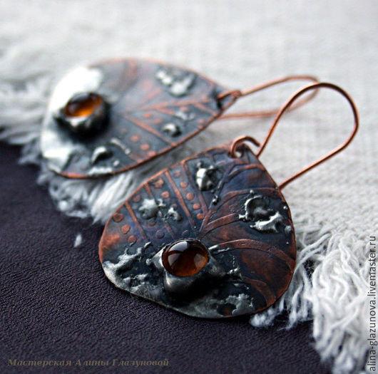 Серьги ручной работы. Ярмарка Мастеров - ручная работа. Купить Серьги медные с оловом и стеклом-4. Handmade. Серьги из меди