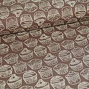 """Ткани ручной работы. Ярмарка Мастеров - ручная работа Хлопок """"Кексики"""" (шоколадный фон). Handmade."""