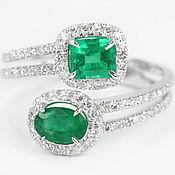 Украшения handmade. Livemaster - original item 14K Double Emerald Diamond Cuff Ring,14K Gold Ring, Double Emerald. Handmade.