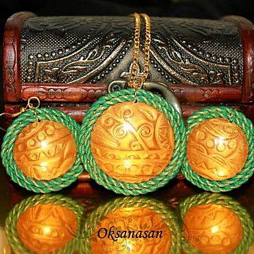 Decorations handmade. Livemaster - original item Jewelry sets: Pendant and earrings Gold. Handmade.