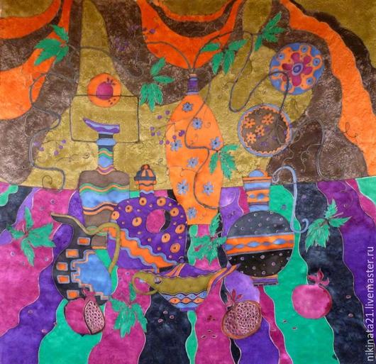 """Шали, палантины ручной работы. Ярмарка Мастеров - ручная работа. Купить Шелковый платок, атлас """"Восточный натюрморт"""" холодный батик. Handmade."""