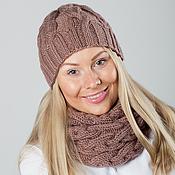 """Аксессуары ручной работы. Ярмарка Мастеров - ручная работа """"Какао"""", комплект вязаный женский, шарф снуд вязаный и шапка вязаная. Handmade."""