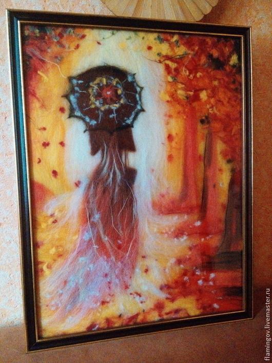 Люди, ручной работы. Ярмарка Мастеров - ручная работа. Купить Красавица Осень. Handmade. Оранжевый, картина из шерсти, подарок девушке