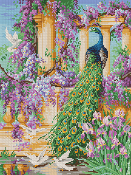 Схема под полную зашивку чешским бисером `Райский сад`