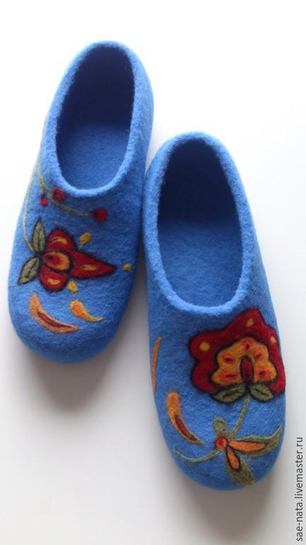 Обувь ручной работы. Ярмарка Мастеров - ручная работа. Купить Тапочки валяные женские. Handmade. Голубой, купить тапки в подарок