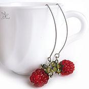 """Украшения ручной работы. Ярмарка Мастеров - ручная работа Серьги """"Чай с малиной""""  лэмпворк.. Handmade."""