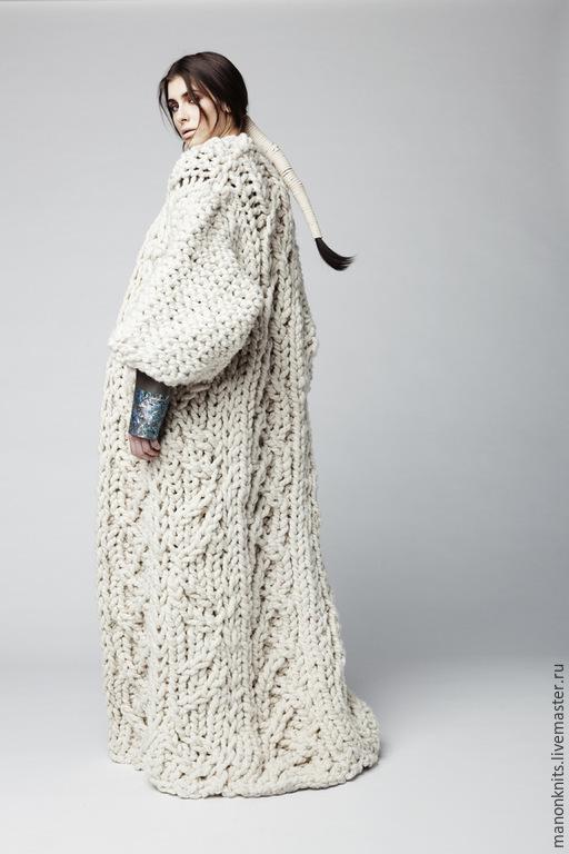 Верхняя одежда ручной работы. Ярмарка Мастеров - ручная работа. Купить Пальто жакет кардиган из толстой пряжи. Handmade. Разноцветный