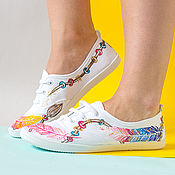 Обувь ручной работы handmade. Livemaster - original item Hand painted Women Boho-style Canvas Sneakers - Magic Feathers. Handmade.