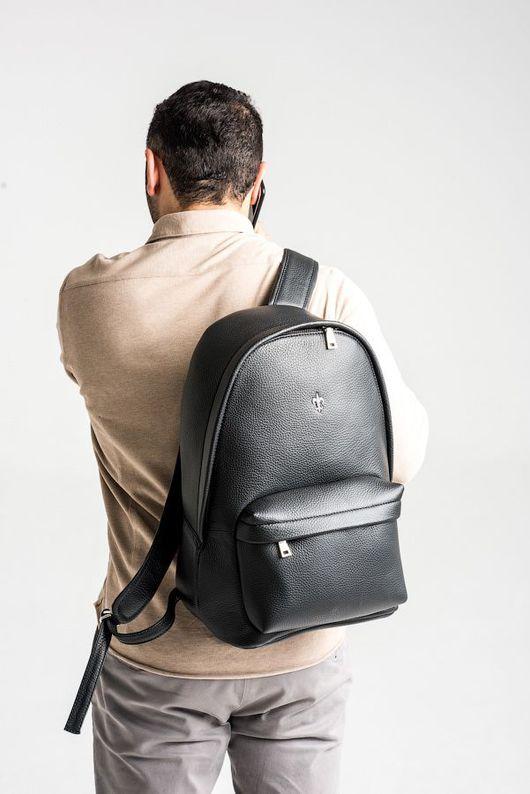 Рюкзаки ручной работы. Ярмарка Мастеров - ручная работа. Купить Мужской рюкзак Liberty. Handmade. Черный, рюкзак из кожи, большой рюкзак