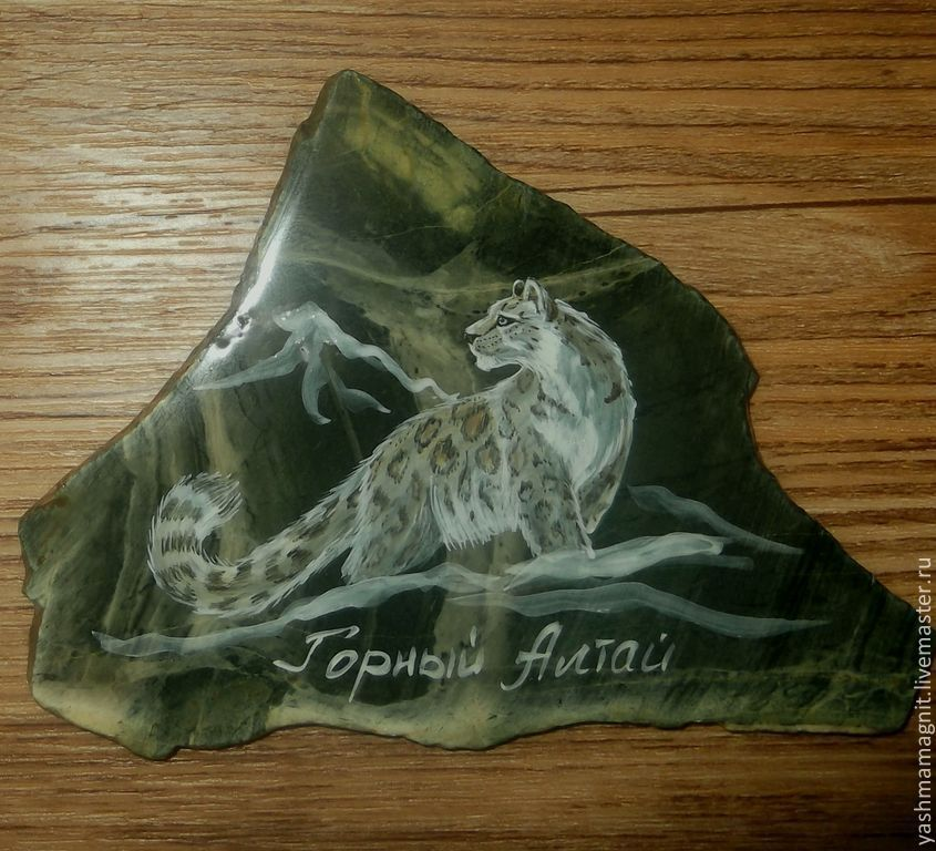 Magnet Jasper Snow leopard painting on stone, Magnets, Zmeinogorsk,  Фото №1