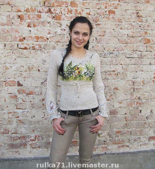 Sweatshirts & Sweaters handmade. Livemaster - handmade. Buy Blouse from flax ..Linen jacket, ruslan bystrov, floss