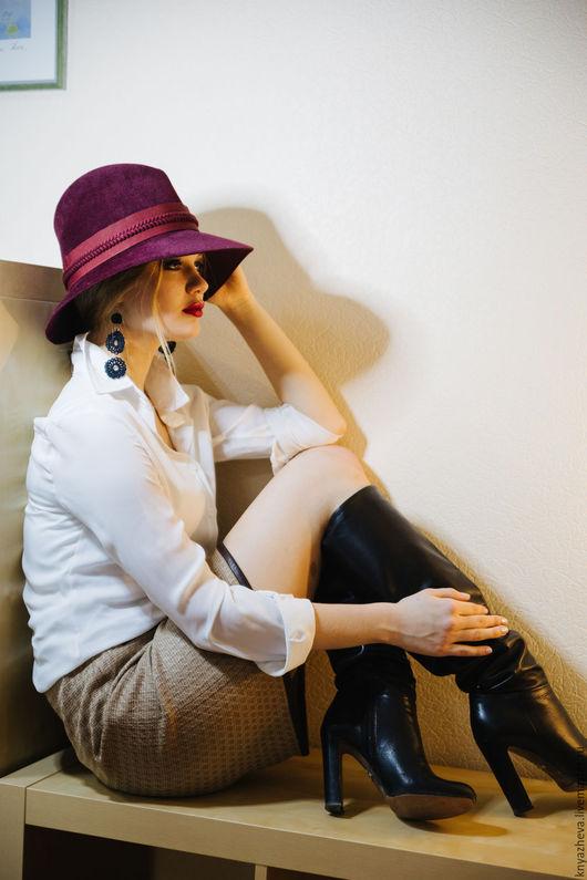 """Шляпы ручной работы. Ярмарка Мастеров - ручная работа. Купить Шляпа панама """"Париж """".. Handmade. Бордовый, шляпа"""