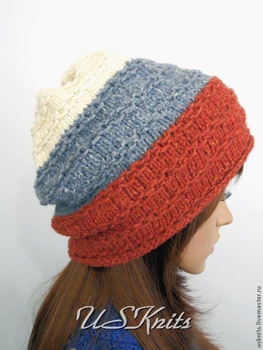Вязаная шапка   `Цвета Российского флага`