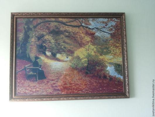 """Пейзаж ручной работы. Ярмарка Мастеров - ручная работа. Купить Картина вышитая крестом """"Осеннй пейзаж"""". Handmade. Ярко-красный"""