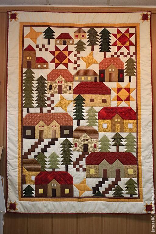 Текстиль, ковры ручной работы. Ярмарка Мастеров - ручная работа. Купить Покрывало лоскутное. Handmade. Сосны, детское, домики, стежка