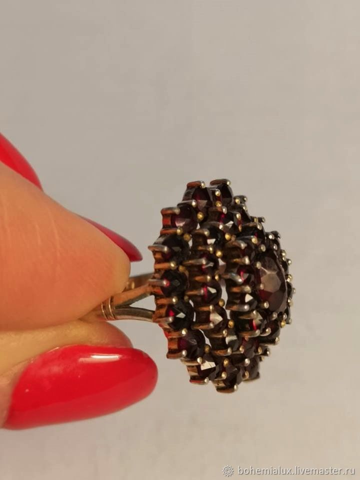Ancient ring of 1940. Silver 900 Czech Garnets (pyropes), Vintage ring, Prague,  Фото №1