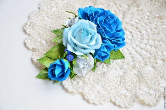 """Броши ручной работы. Ярмарка Мастеров - ручная работа. Купить Брошь с розами из фоамирана """"Голубое небо"""". Handmade. Голубой"""