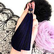 Украшения handmade. Livemaster - original item Earrings-brush Starry night purple violet blueberry aventurine silk. Handmade.
