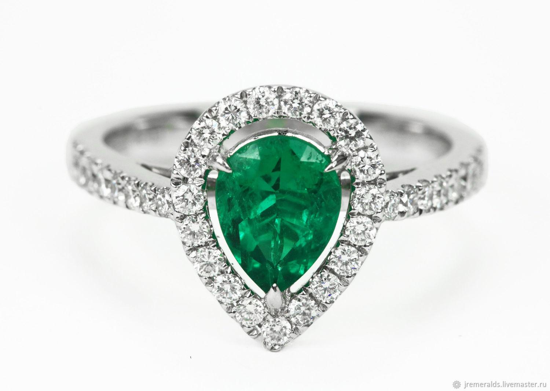 18K Fine Quality Pear Emerald Engagement Ring, Pear Emerald Diamond Ha, Rings, West Palm Beach,  Фото №1