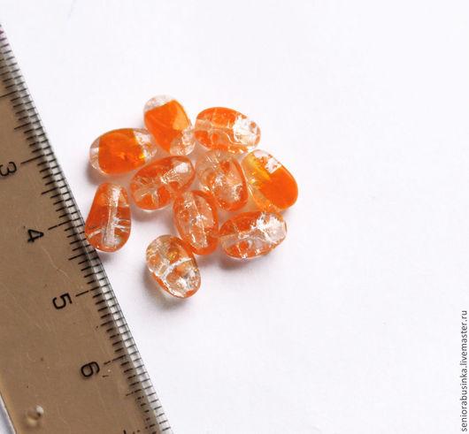 """Для украшений ручной работы. Ярмарка Мастеров - ручная работа. Купить Стеклянные бусины """"Оранжевый кракелюр"""". Handmade. Оранжевый, бусины"""