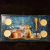 Для дома и интерьера handmade. Livemaster - original item Candle holder , Cats, on 4 candles. Handmade.