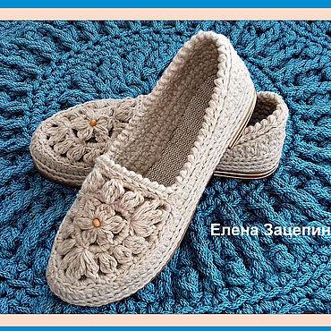 Обувь ручной работы. Ярмарка Мастеров - ручная работа Льняные мокасины с ажурным мотивом. Handmade.